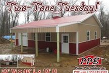 Buildings with Lean-Tos / These buildings are all sizes and shapes with some type of Lean-To attached to them. All buildings were built by Pioneer Pole Buildings. Call 888-448-2505 for any questions.