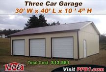 Three Car Garages / These buildings have three garage doors on them and could be used for some type of storage. All buildings were built by Pioneer Pole Buildings. Call 888-448-2505 for any questions.