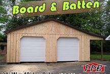 Board & Batten Siding / All these buildings have Board & Batten siding, some have been painted or stained. All buildings were built by Pioneer Pole Buildings. Call 888-448-2505 for any questions.