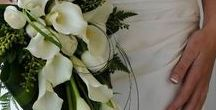 Rachaels wedding / ideas for calla lily and feather bouquet