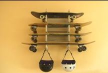 Obrary-Soto Board Rack / The Soto is a wall mounted board rack for skateboards, snowboards and more. Follow us and check out our other boards for more cool projects and ideas!