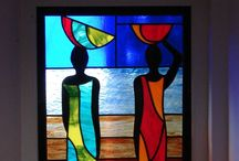 Clever leaded glass designs / Strong design using art glass with copper foil, lead or mosaic.