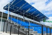 Lynn University, Boca Raton, FL / Specially designed canopies for the Bobby Campbell Soccer Stadium at Lynn University; Boca Raton, Florida.