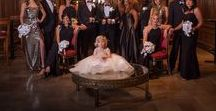 "David Tutera's ""Old Hollywood"" Luxe Wedding / The lavish wedding reception was held at the Millennium Biltmore Hotel in downtown Los Angeles.  Check out ideas for your black tie wedding."