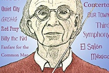 Aaron Copland / Aaron Copland, 20th century American composer of classical music with elements of jazz and american folk music. He was also a writer, music critic and teacher, devoting much of his time to encouraging young musicians.