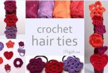 Crochet Embellished Hair Ties : Purfylle (purfylle) on Pinterest