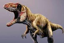 Dinoszauruszok / A dinoszauruszok (Dinosauria) a gerinchúrosok kládjába tartozó ősállatok egy vegyes csoportját jelenti. Változatos méretű (csirke nagyságútól a 30 méteresig terjedő), szárazföldi állatok voltak, melyek 165 millió éven át uralták az egyes ökoszisztémákat. A triász időszakban, mintegy 230 millió éve jelentek meg, és a kréta időszak végén, körülbelül 65,5 millió éve (a kréta–tercier kihalási esemény során) pusztultak ki.