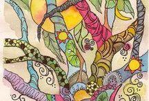 Art - Trees & Flowers / Artworks of trees and flowers. Tree paintings, drawings and prints. Flower paintings, prints and drawings.