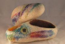 Zapatillas / Slippers my work / Zapatillas hechas en lana, slippers, of wool