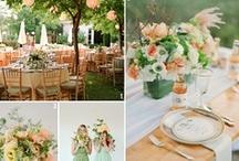 green and peach wedding