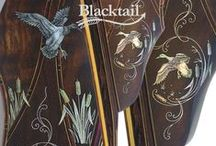 Blacktail Legacy Recurve Bow (Ducks in Flight) / Blacktail Bow Company creates one-of-a-kind, hand-carved, hand-engraved, traditional archery recurve bows.  This example features, hand-etched Mother-of-pearl and silver inlay.