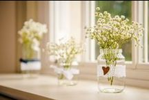 Wedding ideas: mason jars / Mason jars are a bride's best friend! Decorated with lace, burlap or ribbon, filled with anything from whimsical wild flower posies to fairy lights and even crayons! Here are some cute ideas for using recycled jars on your wedding day at Hartnoll Hotel.