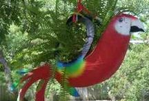 Outdoor Recycling Art / Art DIY ideas using pre-used materials