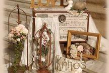 Vintage decoration / coordination of  rustic and romantic elements, giving a delightful sence. ( vintage , lanterns , burlap , birdcages , lace , pearls , flowers )