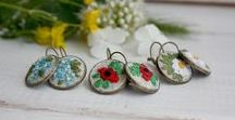 embroidered jewelry / jewelry with hand embroidery and jemstones (bohemian, ethnic, tribal, elegant)