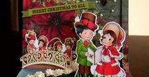 Christmas handmade cards / Christmas digital images colored with Copics, creating handmade girly cute greeting cards