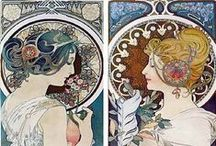 ALPHONSE MUCHA . / Alfons Maria Mucha (Ivančice, 24 July 1860-Prague, July 14, 1939) was an artist born in Moravia, now Czech Republic. His works are an integral part of the Art Nouveau art movement, popular at the turn of the twentieth century. / by Jacob Pol van de