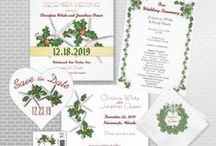 Christmas Wedding / Tropical Christmas wedding ideas and invitations, place cards, thank you cards, etc.