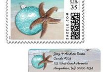 Postage & Labels / Tropical postage stamps and return address labels, for the holidays and everyday.
