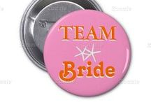Pins and Buttons / Buttons for the bridal party, wedding party, and family members to wear for occasions such as a shower, engagement party, rehearsal dinner, or bachelorette party.