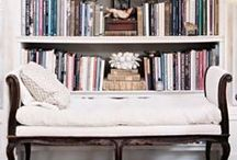 to relax with books / beautiful places for books to live + reading to happen