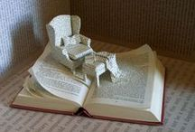 Book Art / Books are not just for reading!  Here are some ideas of what to do with old books, or even better, books off our Free Book Carts at Sherrill Library!