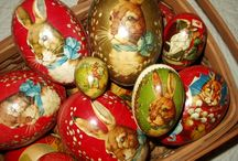 Antique  Easter Decorations / I love all the old Easter decorations, toys and postcards. And I collect them all too. / by Lorraine Lehman