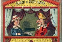 Punch and Judy Puppets / The Punch and Judy Puppet Show was wildly popular in the Victorian Era. The 1st show in England, was held in Covent Garden, in London, on  May 19,1662. Punch and Judy were used on postcards, toys,tobacco figures, in advertising, and in books. The puppet show continues today. / by Lorraine Lehman