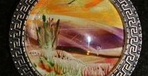 Encaustic wax Wikis paja / Mehiläisvaha maalauksia ,maalausraudalla sekä stylyksellä.