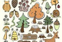 les, lesní zvířátka, stromy...