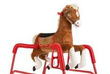 """Spring Horses / Rockin' Rider Spring Horses feature the """"I'm a Little Pony"""" song and 6 talking phrases and sound effects, soft plush, easy-grip handles, metal frame, durable spring covers, and 3-position stirrups that grow with your child."""
