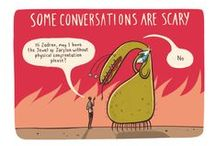 Comic strips: talking about mental health / Stephen Collins illustrated these comic strips as part of the Time to Change campaign to get people talking about mental health.