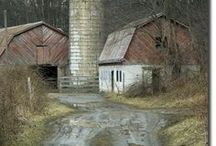 ~ Down on the Farm / barns, sheds, fence rows & gates, clotheslines, fields & pastures, tractors, etc.