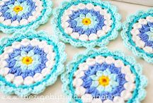 Crocheted Granny squares, circles and triangles