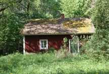 Falu Red Houses / My dream is to live in a little red house with lace curtains next to a lake with a sauna ❤️