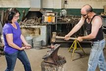 """Sterling&Steel Artists at Work / Forged of a partnership between two artists who have metalsmithing in their blood, """"Sterling and Steel"""" sculptural housewares are both contemporary and timeless, bringing the beauty and uniqueness of handwork to 21st Century life."""