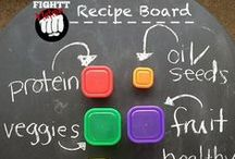 #FIGHTTNation #WARHealthFitness Recipe Board / Portion Control Recipes that fit perfectly into your Red, Yellow, Blue, Green, Purple and Orange containers! Shakeology recipes ideas!
