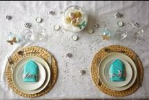 // Les tables en fêtes - participations / Les participations des blogueurs lors du concours Tables en Fête : turquoise, argenté, doré Art de la Table Décoration de table pour les fêtes