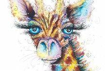 Giraffe Art / Giraffe Paintings by Artist Sophie Appleton. Art Prints for sale £13.95 each on the 'Art 4 SALE' page of www.sixfootsophie.co.uk