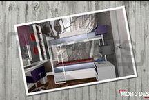 Dormitorio juvenil D100 / Hemos realizado un #diseño desenfadado para un #dormitoriojuvenil, destacando el #vinilo fotográfico.