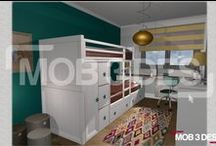 Dormitorio infantil D127 / Este #diseño se ha realizado en color blanco, que contrasta con la madera natural del enmarque del armario y la tapa de la mesa de estudio.