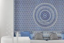 Greek Inspired Interiors / Interiors inspired by Greece. Think marble busts, Greek key patterns, bright blues, muted greys and sunlight reflecting whites.