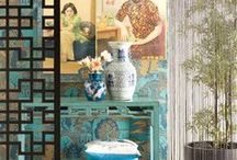 Oriental Inspired Interiors / Inspiration from the Far East. Minimalist designs, moody blues, lots of neutrals and a range of textures for Japan. Brighter hues, stunning wallpapers and the occasional foo dog for China.