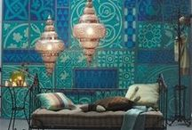 Turkish Inspired Interiors / It's not all about the hammam towels here - though they are a bathroom must-have for the intrepid traveller...lots of copper and bold tile patterns can liven up your room without it looking like you've overdone the shisha....