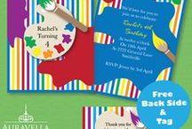 Kid's Birthday Invitations / Minion invitations, Superhero invitations, Colourful Art party invitations, Up The Movie Invitations