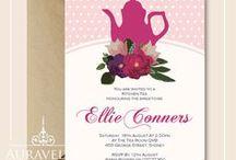 Kitchen Tea / Bridal Shower Invitations / Matching kitchen tea invitations. Feminine, floral bridal shower invitations
