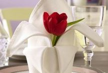 Napkin folding and table setting