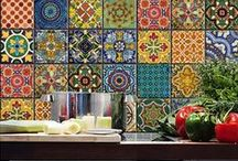 Viva los Azulejos! / Ornamental, colorful or black&white Spanish and Portuguese painted tin-glazed ceramic tileworks are a great idea for a kitchen and home decoration!