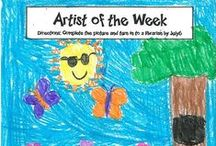 Artist of the Week Winners! / Each week we ask kids to finish a drawing that we started and we select one entry to be the ELANCO Library Artist of the Week.