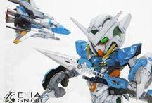 SD EXIA GN-001 Extreme Senshi / custom panel line - custom color scheme - custom plasticard details and builder parts - metal parts